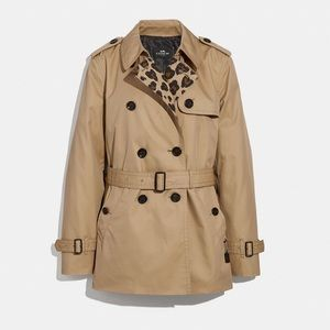 COACH Solid Short Trench Coat Khaki Leopard XS